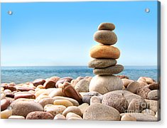 Stack Of Pebble Stones On White Acrylic Print