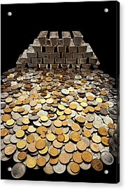 Stack Of Sliver Ingots And Pile Of Coins Acrylic Print
