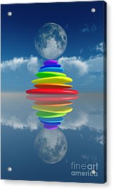 Stacked Rainbow Colored Stones Acrylic Print by Aleksey Tugolukov