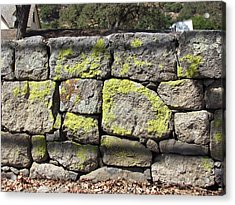 Stacked Stone Wall Acrylic Print by Bonnie Muir