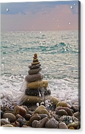 Stacking Stones Acrylic Print by Stelios Kleanthous