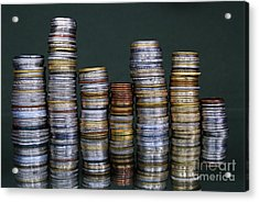 Stacks Of International Coins Acrylic Print