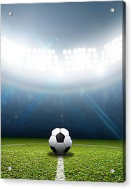 Stadium And Soccer Ball Acrylic Print by Allan Swart