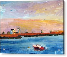 Acrylic Print featuring the painting Stage Harbor Sunset by Michael Helfen