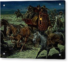 Stagecoach Attack Acrylic Print