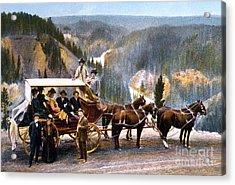 Stagecoach Near Upper Falls Acrylic Print by NPS Photo Frank J Haynes