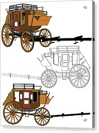 Stagecoach Without Horses - Color Sketch Drawing Acrylic Print by Nenad Cerovic