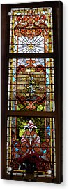 Stained Glass 3 Panel Vertical Composite 02 Acrylic Print by Thomas Woolworth