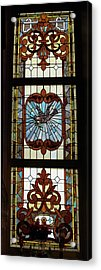 Stained Glass 3 Panel Vertical Composite 03 Acrylic Print by Thomas Woolworth