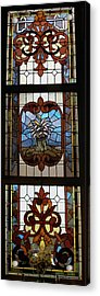 Stained Glass 3 Panel Vertical Composite 04 Acrylic Print by Thomas Woolworth
