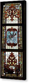 Stained Glass 3 Panel Vertical Composite 05 Acrylic Print by Thomas Woolworth
