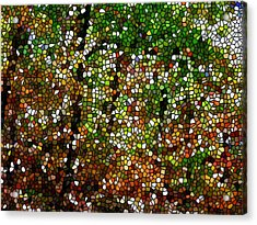 Stained Glass Autumn Colors In The Forest 1 Acrylic Print by Lanjee Chee