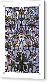 Stained Glass Birds And Grapes Acrylic Print
