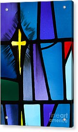 Stained Glass Cross Acrylic Print by Karen Lee Ensley
