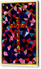 Stained Glass Cross Acrylic Print by Michael Vigliotti
