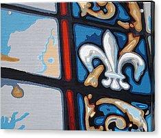 Stained Glass Fleur De Lis Acrylic Print