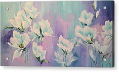 Stained Glass Flowers Acrylic Print by Steven Nevada