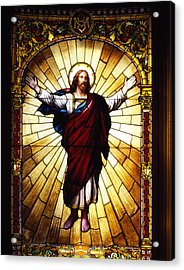 Stained Glass Jesus Acrylic Print by Mountain Dreams