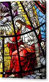 Stained Glass Jesus Acrylic Print by Dancasan Photography