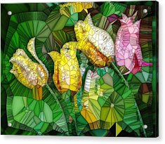 Stained Glass Series - Tulips Acrylic Print by Ron Grafe