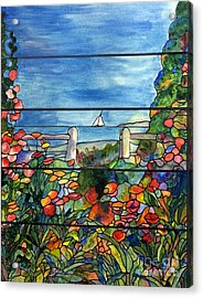 Stained Glass Tiffany Landscape Window With Sailboat Acrylic Print