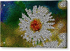 Stained Glass White Flower Acrylic Print by Lanjee Chee
