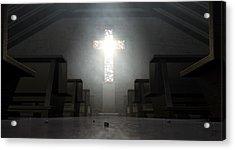 Stained Glass Window Crucifix Church Acrylic Print