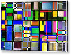 Stained Glass Window II Multi-coloured Abstract Acrylic Print by Natalie Kinnear