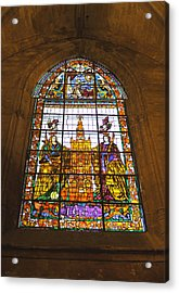Stained Glass Window In Seville Cathedral Acrylic Print by Tony Murtagh