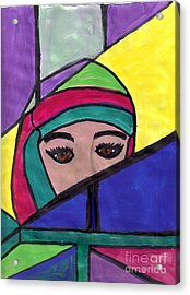 Stained Glass Woman Acrylic Print by Debbie Wassmann