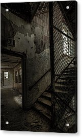 Stairs And Corridor Inside An Abandoned Asylum Acrylic Print
