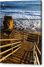Acrylic Print featuring the photograph Steps To Blue Ocean And Rocky Beach by Jerry Cowart