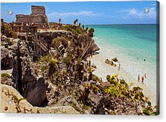 Stairway To The Tulum Beach  Acrylic Print by John M Bailey
