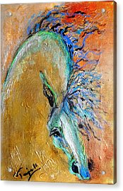 Stallion In Gold Acrylic Print