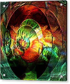 Stamped Mirror Of Love Acrylic Print by Gayle Price Thomas