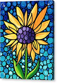 Standing Tall - Sunflower Art By Sharon Cummings Acrylic Print by Sharon Cummings