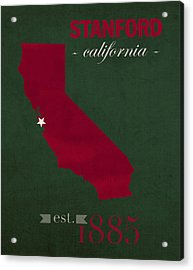 Stanford University Cardinal Stanford California College Town State Map Poster Series No 100 Acrylic Print by Design Turnpike