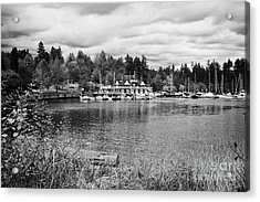stanley park coal harbour and Vancouver rowing club marina BC Canada Acrylic Print by Joe Fox