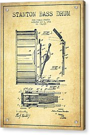 Stanton Bass Drum Patent Drawing From 1904 - Vintage Acrylic Print
