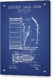 Stanton Bass Drum Patent From 1904 - Blueprint Acrylic Print