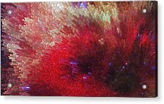 Star Burst - Red Abstract Art By Sharon Cummings Acrylic Print by Sharon Cummings