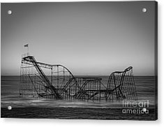 Star Jet Roller Coaster Bw Acrylic Print by Michael Ver Sprill