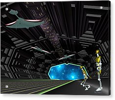 Star Ship Chamber Landing Acrylic Print by Walter Oliver Neal