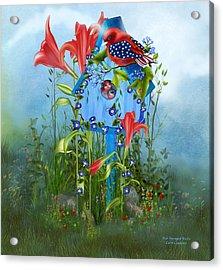 Star Spangled Birdie Acrylic Print by Carol Cavalaris
