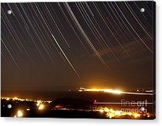 Star Trails Above A Village Acrylic Print by Amin Jamshidi