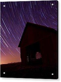 Star Trails On The Farm Acrylic Print by Dan Sproul