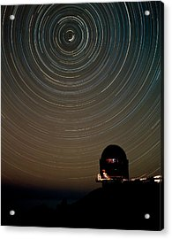 Star Trails Over Dome Of Nordic Optical Telescope Acrylic Print by David Parker/science Photo Library