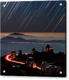 Star Trails Over La Silla Observatory Acrylic Print by Babak Tafreshi