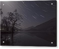 Star Trails Over Lake Acrylic Print