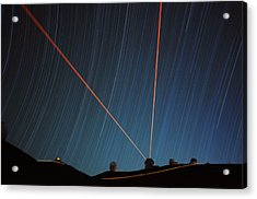 Star Trails Over Mauna Kea Observatory Acrylic Print